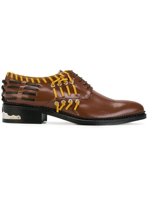 Toga Whipstitch-detail Leather Derby Shoes In Brown Multi