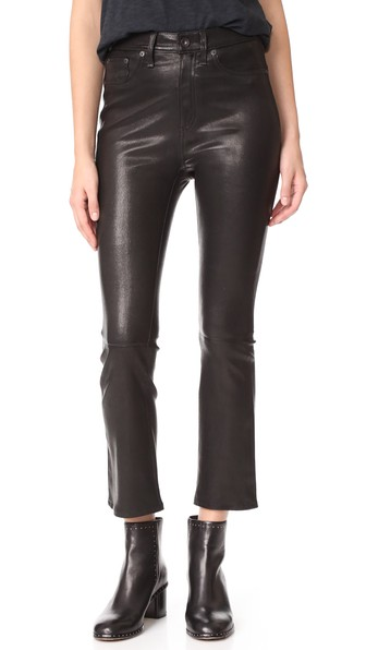 Rag & Bone The Hana High Rise Cropped Leather Pants In Black Leather