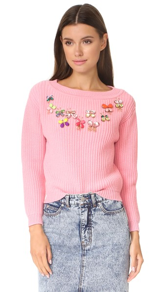 Boutique Moschino Butterfly Embellished Sweater In Pink