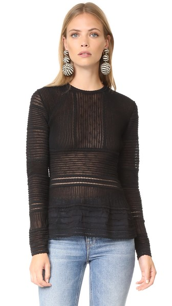 M Missoni Long Sleeve Peplum Blouse In Black