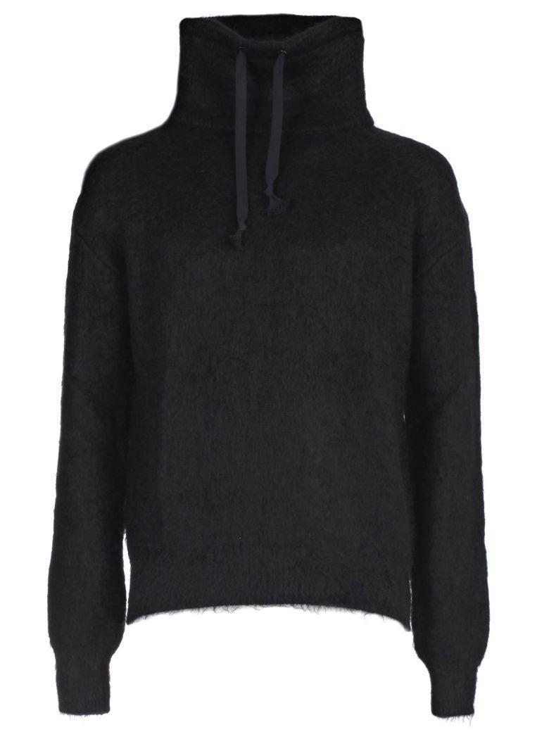 Saint Laurent Drawstring Roll Neck Mohair Sweater In Black