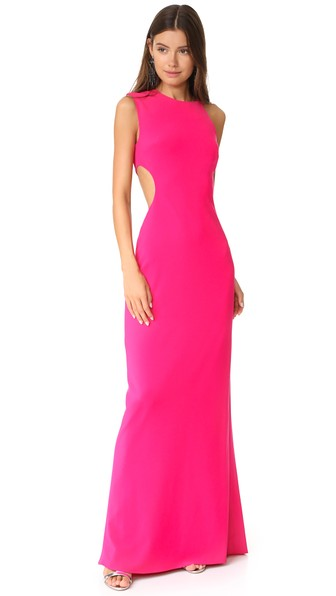 Halston Heritage Asymmetrical Gown With Back Cutout In Fuchsia Rose