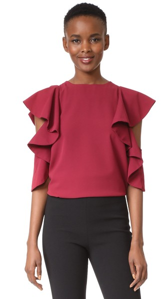 C/meo Collective White Noise Top In Scarlet
