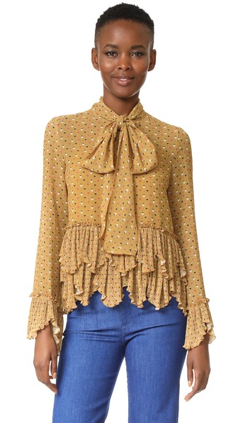 See By ChloÉ Printed Ruffle Blouse In Ochre