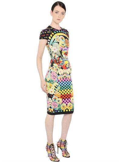 Mary Katrantzou Intarsia Multi-print Dress, Black Cornice In Black/multi