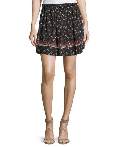 Ella Moss Florica Floral-printed Mini Skirt In Black