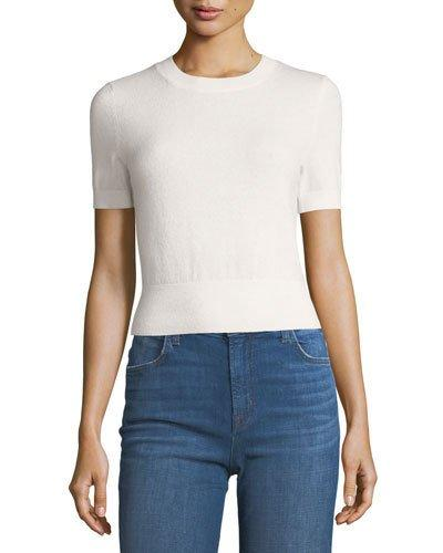 J Brand Briony Crewneck Short-sleeve Cashmere Sweater In White