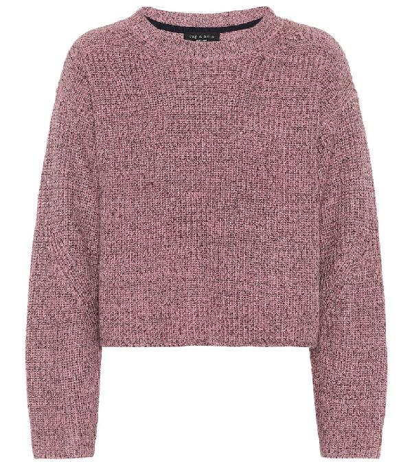 Rag & Bone Leyton Metallic Knit Merino Wool Blend Sweater In Pink