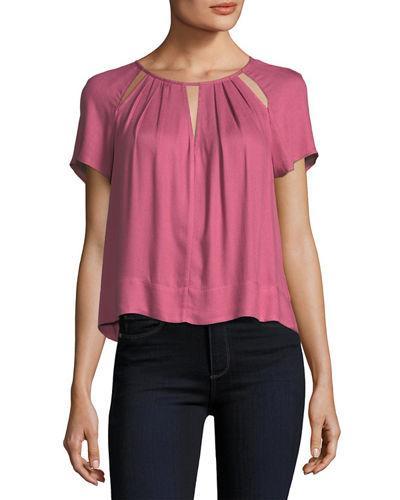 Ella Moss Stella Round-neck Cutout Swing Top In Pink