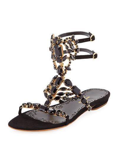 Marchesa Emily Jewel-caged Low Dressy Sandal In Black