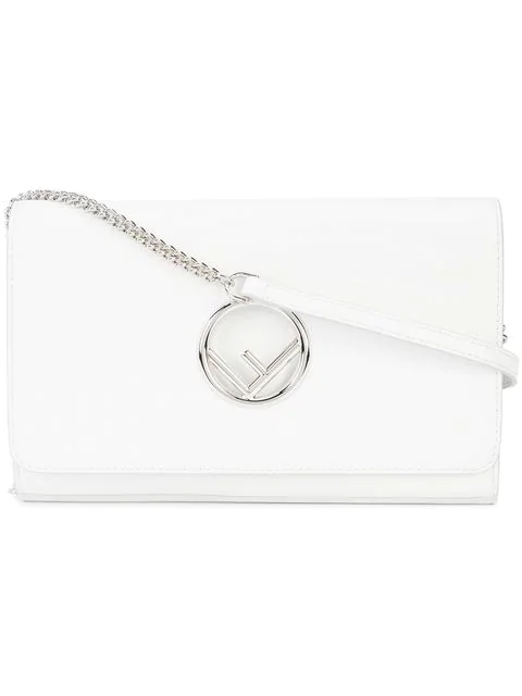 Fendi F Seal Leather Wallet On A Chain, White