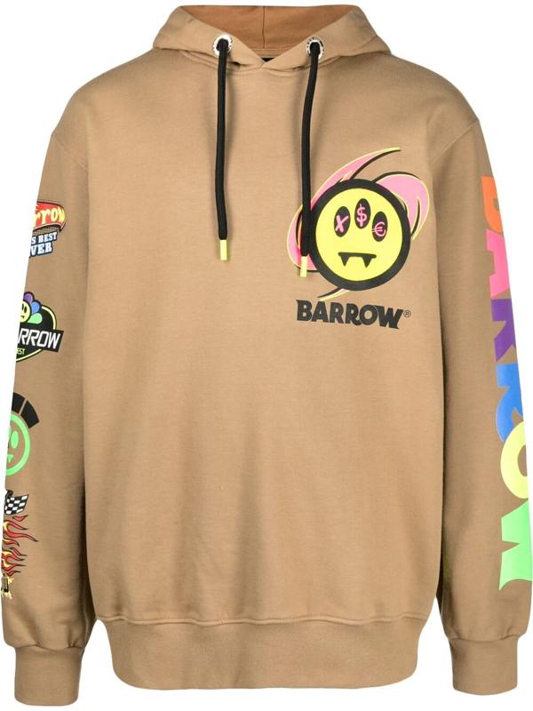 Barrow Multicolor Print Sweatshirt In Brown
