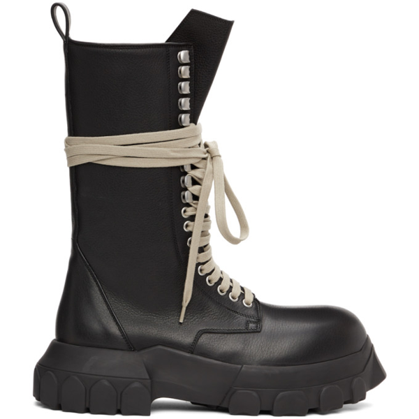 Rick Owens Bozo Tractor Lace-up Leather Boots In 99 Black