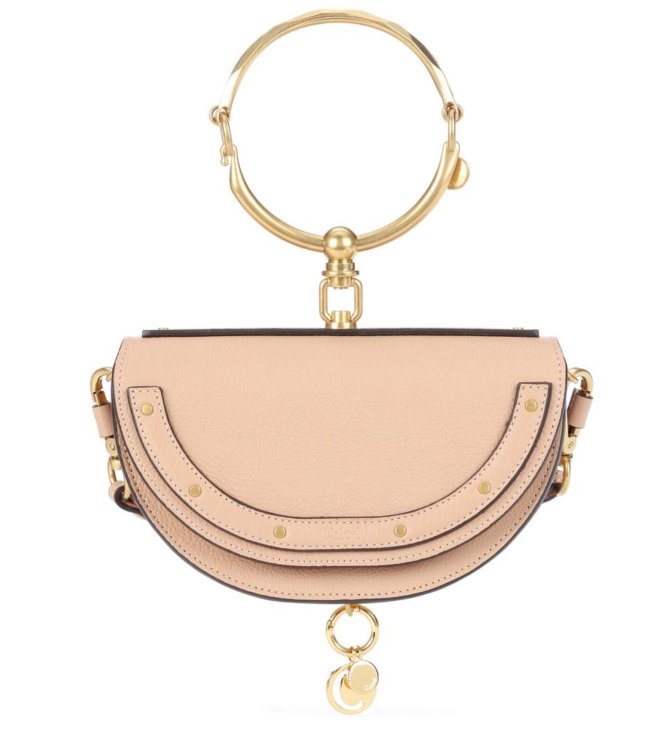 ChloÉ Nile MinaudiÈre Leather Crossbody Bag In Beige