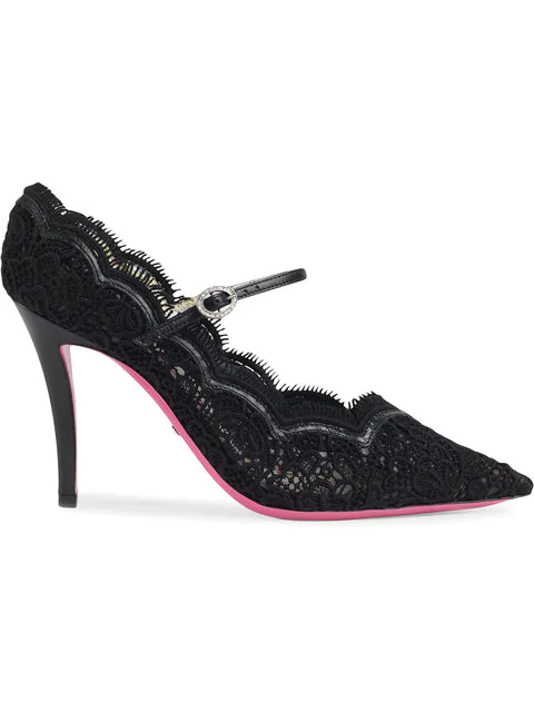 Gucci Virginia Leather And Lace Mary Jane Pointed Toe Pumps In Black