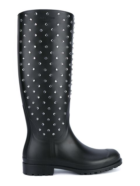 Saint Laurent Festival 25 Studded High Boot In Black Rubber And Crystal In Eero