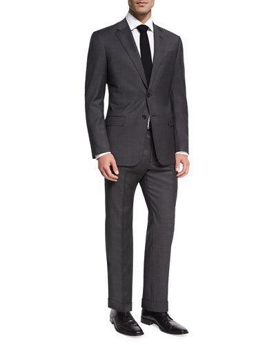 Giorgio Armani Soft Pin-Dot Worsted Wool Two-Button Suit In Charcoal