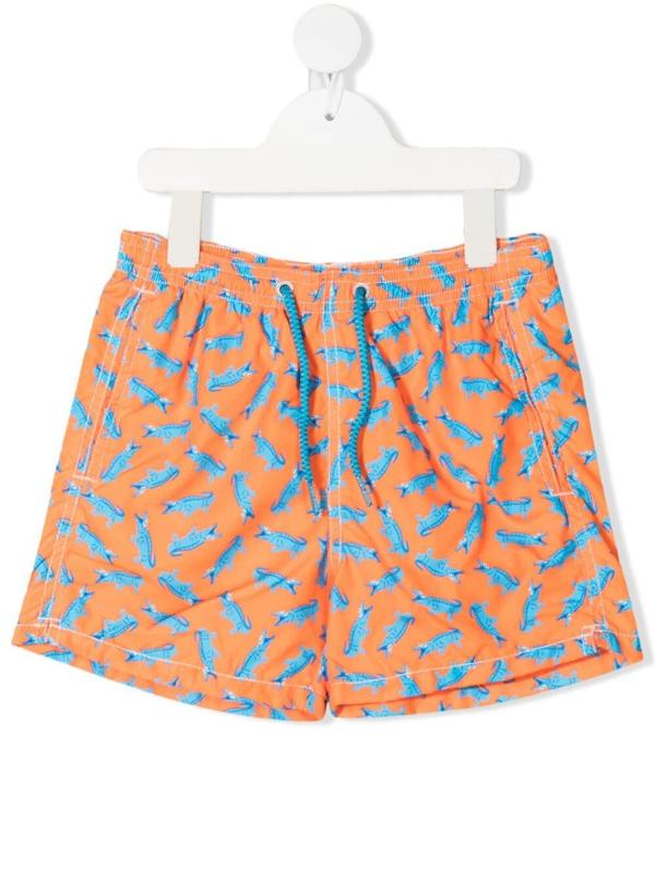 Mc2 Saint Barth Teen Jean Crocodile Print Swim Shorts In Orange
