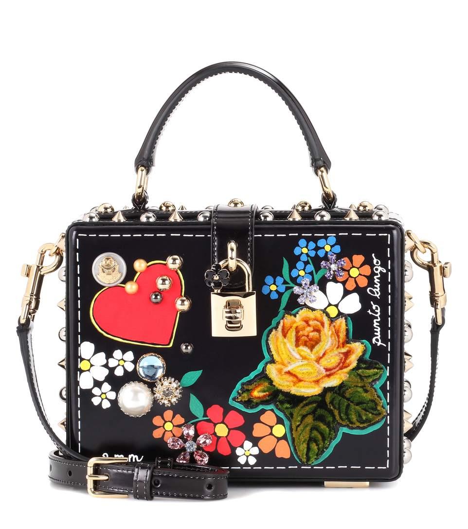 b0042da665 Dolce   Gabbana Dolce Box Leather Shoulder Bag In Black-Multi