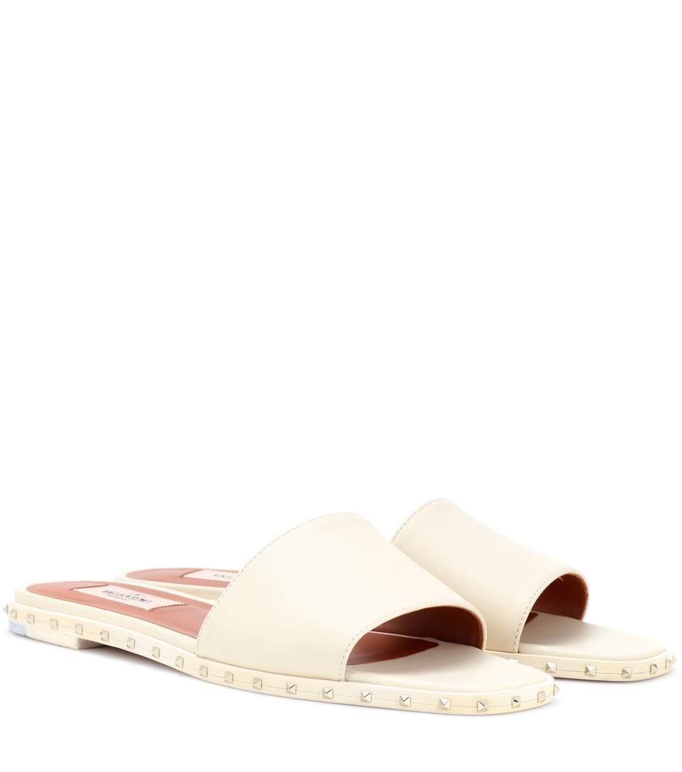 Valentino Rockstud Leather Slides In White