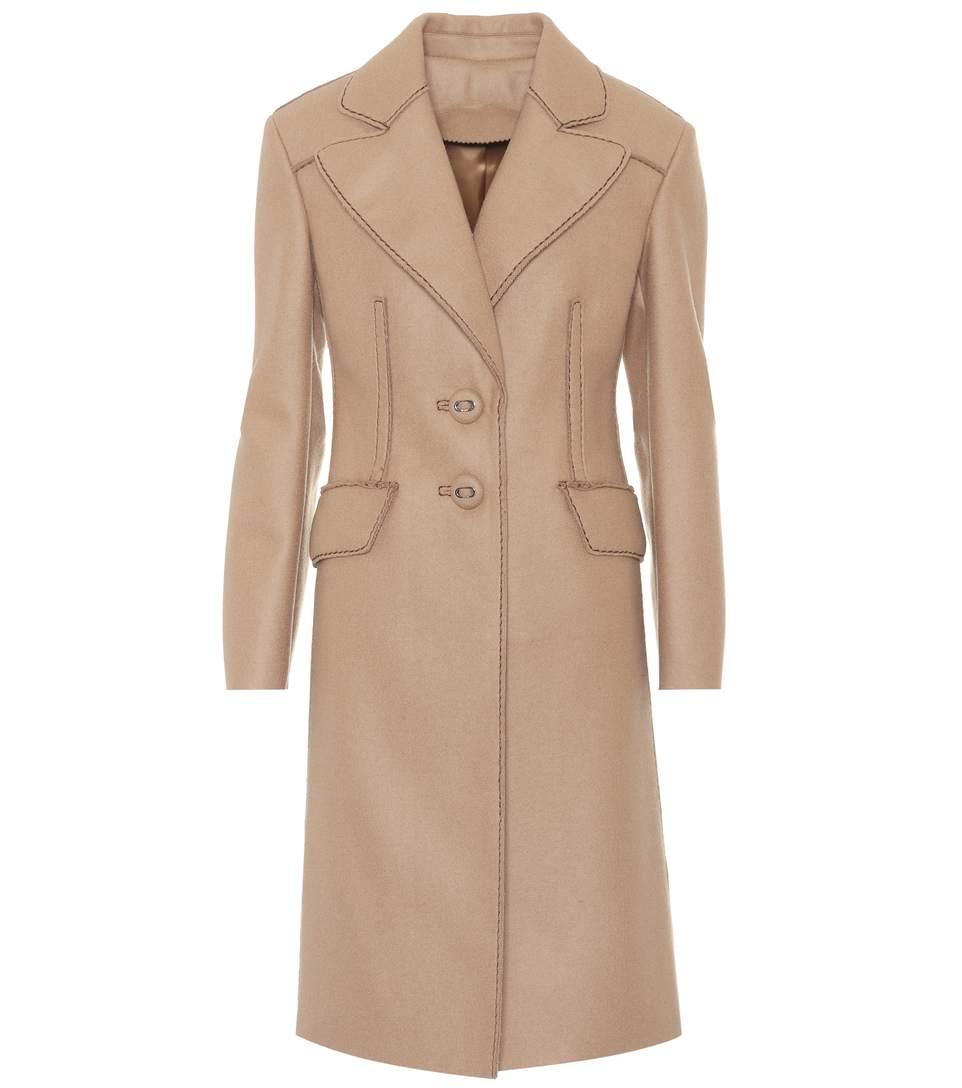 Prada Wool Cloth Coat In Beige
