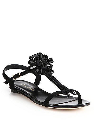 Oscar De La Renta Elena Embellished Suede Flat Sandals In Black
