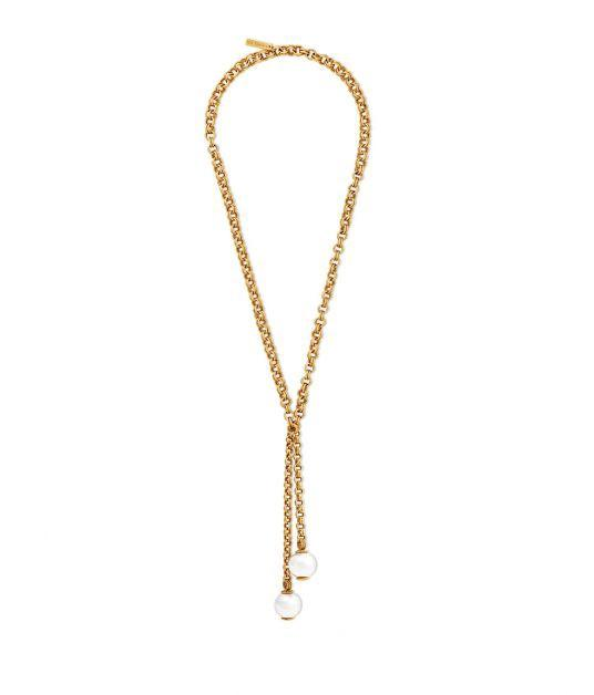 Rachel Zoe Kayden Sphere Pendant Wrap Necklace In Gold/silver