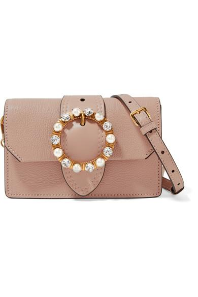 Miu Miu Miu Lady Embellished Smooth And Textured-Leather Shoulder ... 6456578940cd7