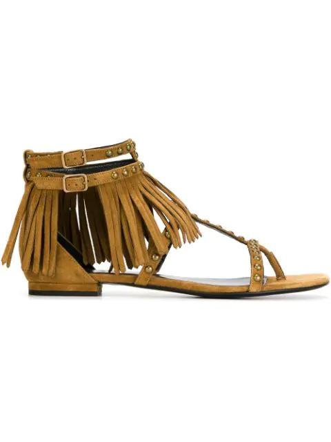 Saint Laurent 'nu Pied' Flat Sandals - Neutrals