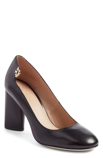 5d3ef4943 Tory Burch Elizabeth Leather High Block Heel Pumps In Black Leather ...