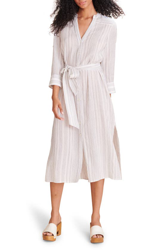 Veronica Beard Valima Belted Button-front Coverup Dress In White/ Blue
