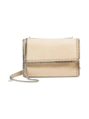 Stella Mccartney 'Falabella' Mini Shaggy Deer Chain Crossbody Bag In Clotted Cream