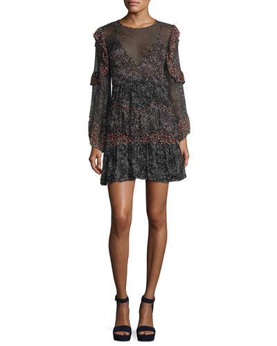 4f133abb5c1d0 Iro Trillie Tiered Printed Chiffon Mini Dress In Black/White | ModeSens
