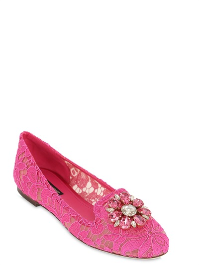 Dolce & Gabbana Slipper In Taormina Lace With Crystals In Fuchsia