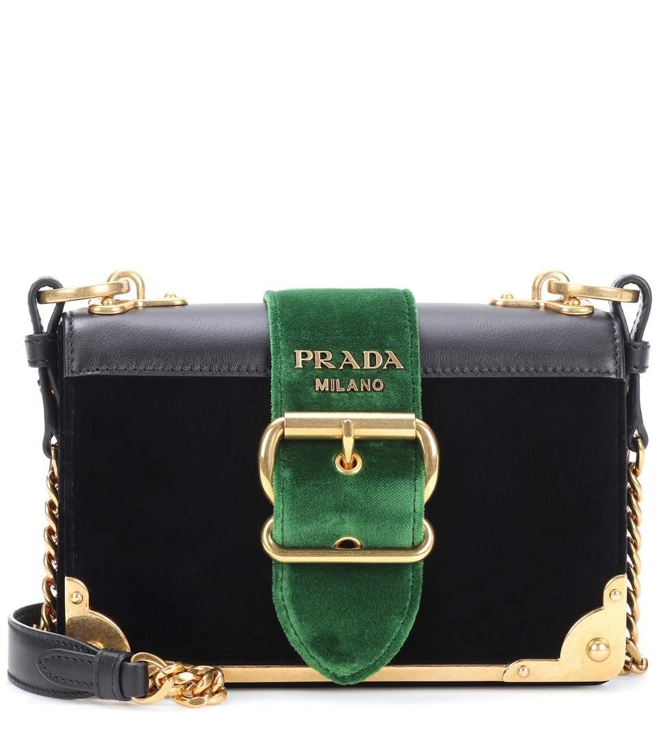38b2c0fd9b1a Prada Leather-Trimmed Velvet Shoulder Bag In Eero+Alloro