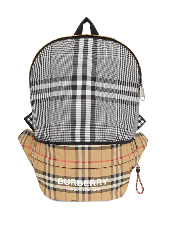 Burberry Kids' Convertible Vintage Check Econyl® Backpack/belt Bag In Neutrals