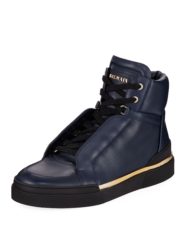 4114cd583b1 Balmain Men's Atlas Suede High-Top Sneakers In Blue | ModeSens