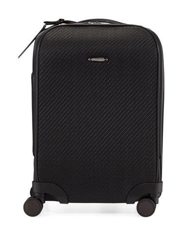 Ermenegildo Zegna Pelle Tessuta Woven Leather Trolley Suitcause In Black