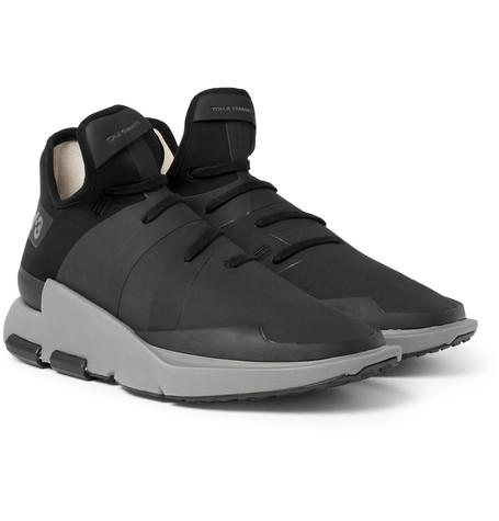 Y-3 Noci Rubberised-neoprene Sneakers In Black
