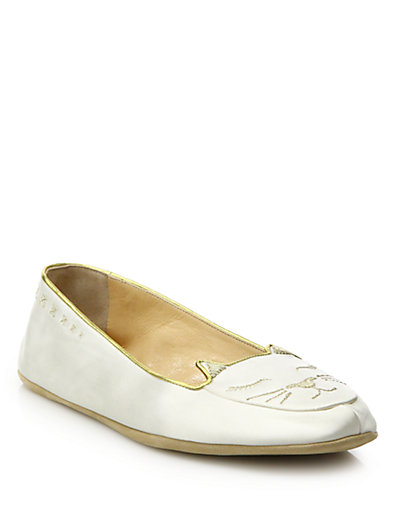 Charlotte Olympia Cat Nap Satin Slipper Set In Ivory