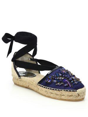 1cbce8f4f Oscar De La Renta Adriana Embellished Satin Lace-Up Espadrille Flats In Blue