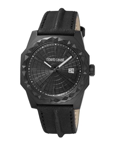 Roberto Cavalli Men's 43Mm Pyramid-Bezel Watch W/ Leather Strap, Black Ip