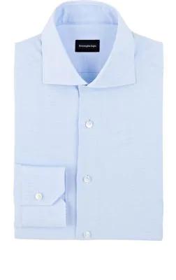 Ermenegildo Zegna Micro-Houndstooth Cotton Dress Shirt In Blue