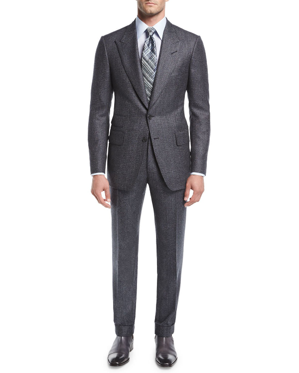 Tom Ford Shelton Base Salt & Pepper Wool-Silk Two-Piece Suit In Gray