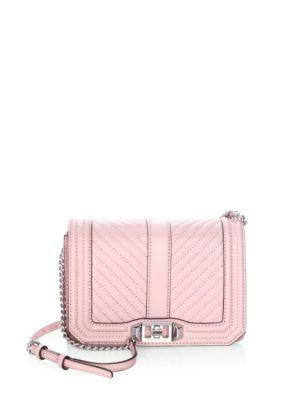 Rebecca Minkoff Love Small Chevron Quilted Crossbody Bag In Vintage Pink