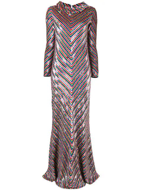 b1571b70e995b6 ASHISH. Ashish - Rainbow Striped Sequin Embellished Silk Maxi Dress - Womens  - Multi in Multicolour
