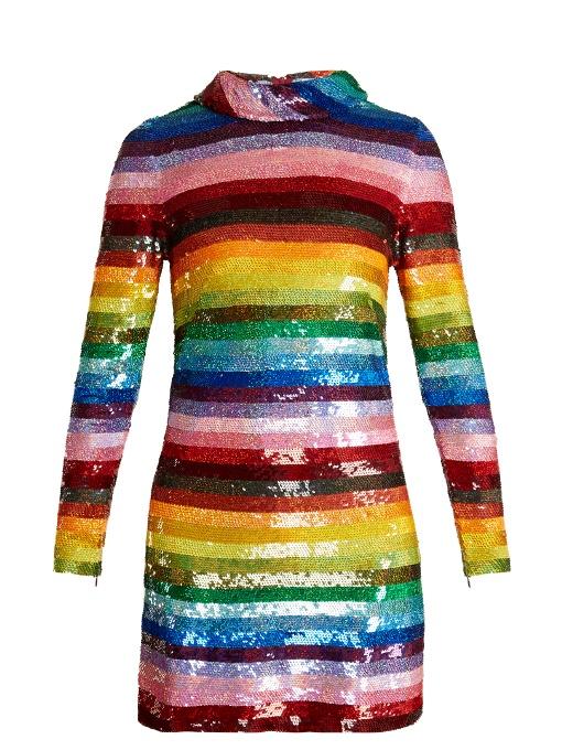 0d3d3f4e7c15 Ashish Rainbow-Striped Sequin-Embellished Silk Mini Dress In Multi ...