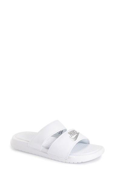 Nike Women's Benassi Duo Ultra Slide Sandals From Finish Line In White/ Metallic Silver