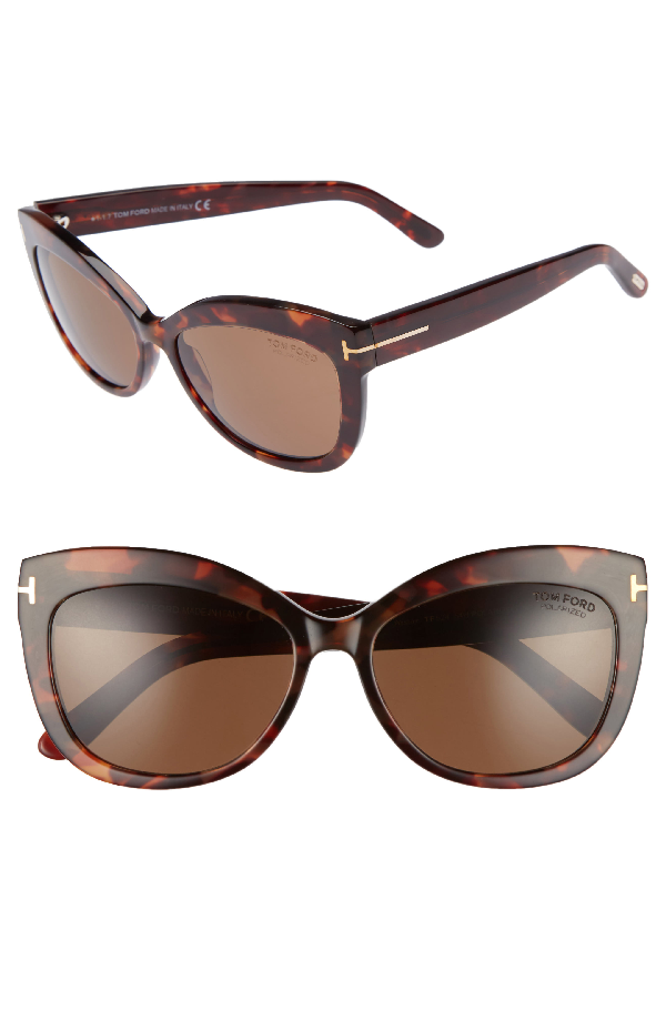 Tom Ford Alistair 56mm Gradient Sunglasses - Red Havana / Brown Polarized