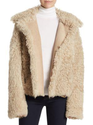 f935ef2ca49 Theory Oversized Collar Shearling Coat In Beige | ModeSens